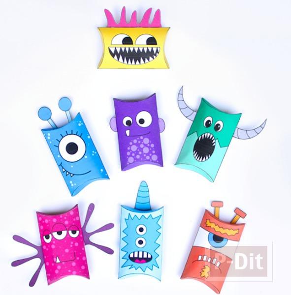 รูป 4 กล่องใส่ขนม ลายสัตว์ประหลาดน่ารักๆ (Monster)