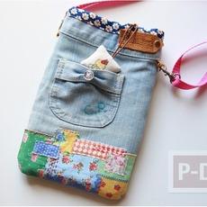 กระเป๋าสะพาย ทำจากกางเกงยีนส์ ตกแต่งเศษผ้า