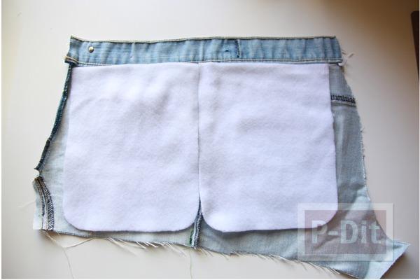 รูป 3 กระเป๋าสะพาย ทำจากกางเกงยีนส์ ตกแต่งเศษผ้า