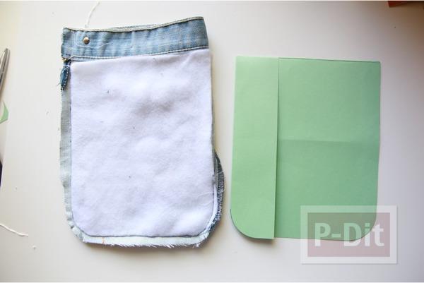 รูป 4 กระเป๋าสะพาย ทำจากกางเกงยีนส์ ตกแต่งเศษผ้า