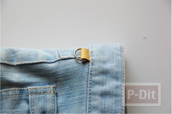 รูป 5 กระเป๋าสะพาย ทำจากกางเกงยีนส์ ตกแต่งเศษผ้า