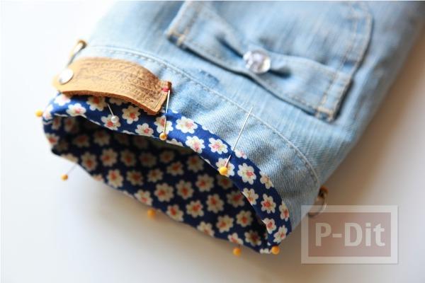 รูป 7 กระเป๋าสะพาย ทำจากกางเกงยีนส์ ตกแต่งเศษผ้า