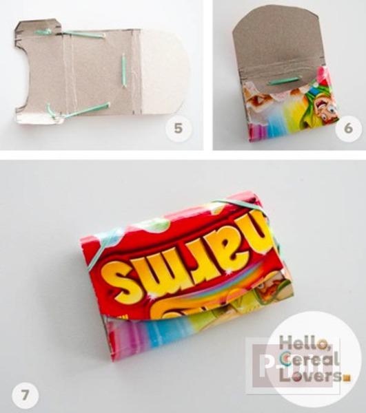 รูป 3 กระเป๋าสตางค์ ทำจากกล่องขนม สีสด