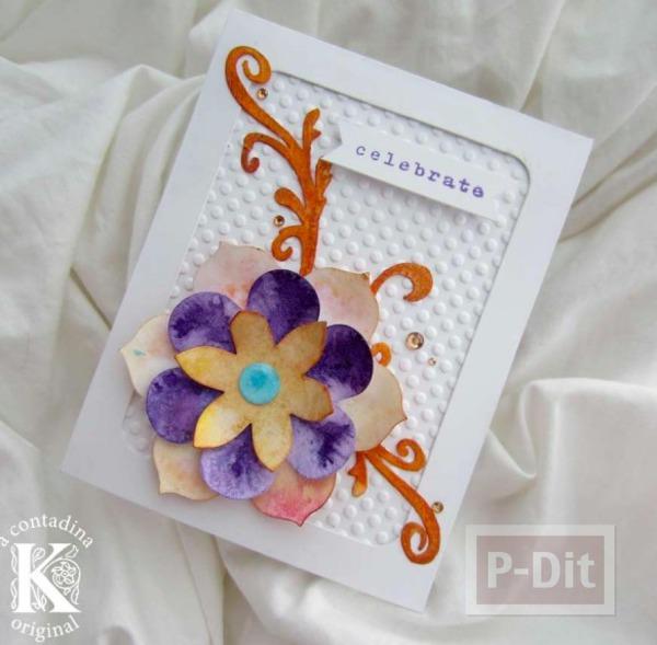รูป 1 ไอเดียทำการ์ดสวยๆ ประดับดอกไม้กระดาษ