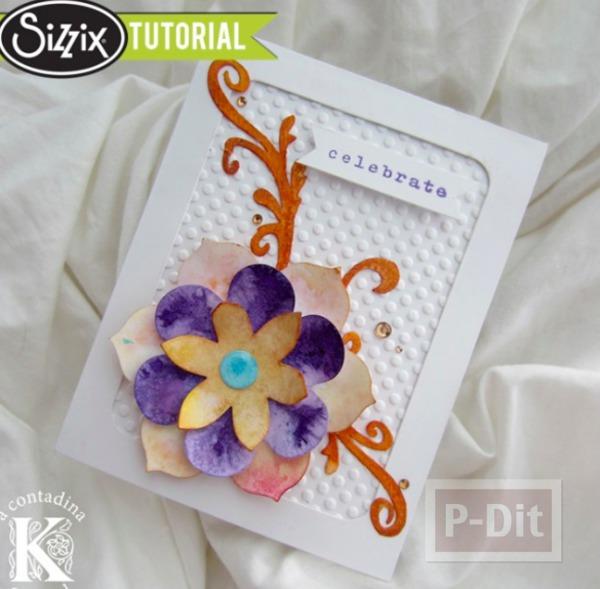 รูป 2 ไอเดียทำการ์ดสวยๆ ประดับดอกไม้กระดาษ