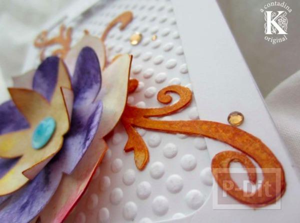 รูป 3 ไอเดียทำการ์ดสวยๆ ประดับดอกไม้กระดาษ