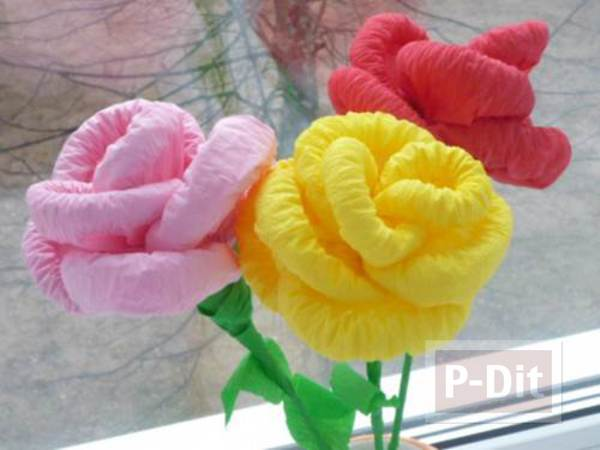 สอนทำดอกไม้สวยๆ จากกระดาษย่นสีสด