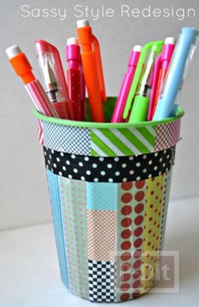รูป 1 ตกแต่งที่ใส่ดินสอ จากสก็อตเทปสีสวย