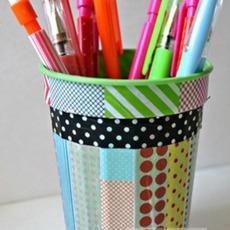 ตกแต่งที่ใส่ดินสอ จากสก็อตเทปสีสวย