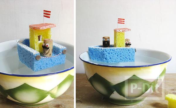 รูป 5 ทำเรือโจรสลัด จากฟองน้ำ สีสด