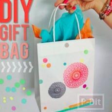 ตกแต่งถุงกระดาษ ทำเป็นถุงของขวัญ ลายสวย