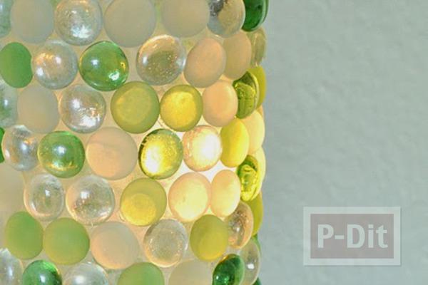 รูป 2 สอนทำโคมไฟแก้ว ประดับก้อนกรวดแก้ว สีสวย