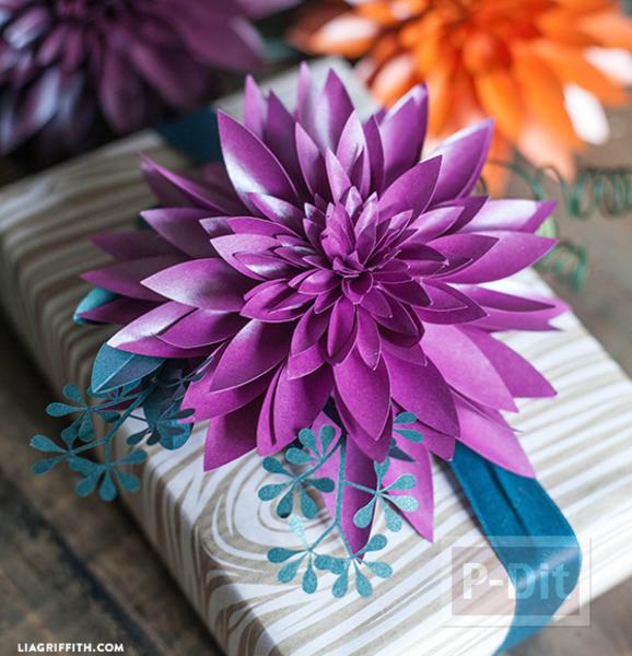 แพทเทิร์นดอกไม้กระดาษแสนสวย ห่อของขวัญ ทำช่อดอกไม้