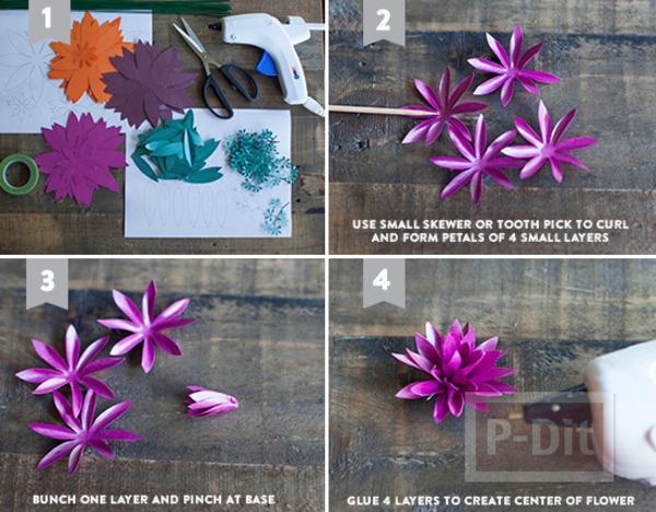 รูป 4 แพทเทิร์นดอกไม้กระดาษแสนสวย ห่อของขวัญ ทำช่อดอกไม้