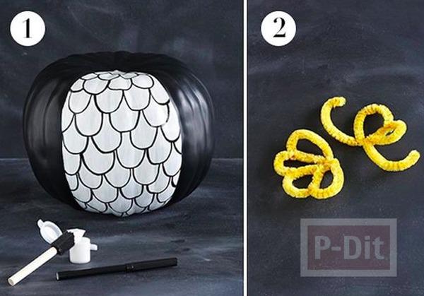 รูป 3 ไอเดียทำนกฮูก จากฟักทอง