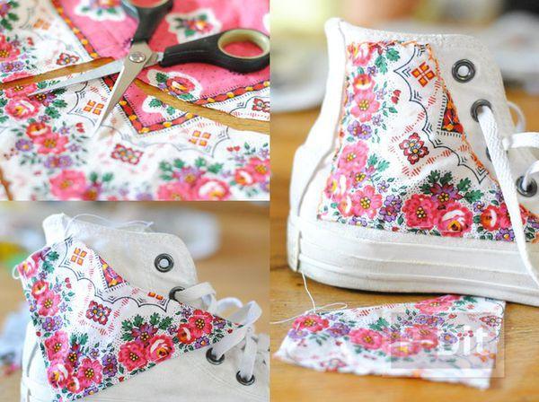 รูป 1 รองเท้าผ้าใบ ตกแต่งลายสวย จากผ้า
