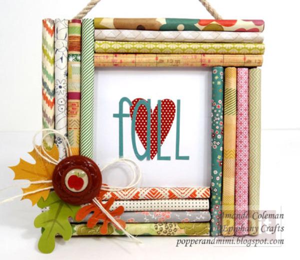 กรอบรูปสวยๆ ทำจากกระดาษสีม้วนลายสวย