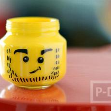 ตกแต่งที่ใส่ดินสอ ลายเลโก้ จากขวดแก้วเล็กๆ