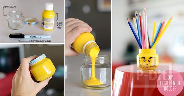 รูป 2 ตกแต่งที่ใส่ดินสอ ลายเลโก้ จากขวดแก้วเล็กๆ