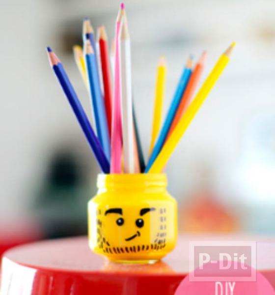 รูป 3 ตกแต่งที่ใส่ดินสอ ลายเลโก้ จากขวดแก้วเล็กๆ