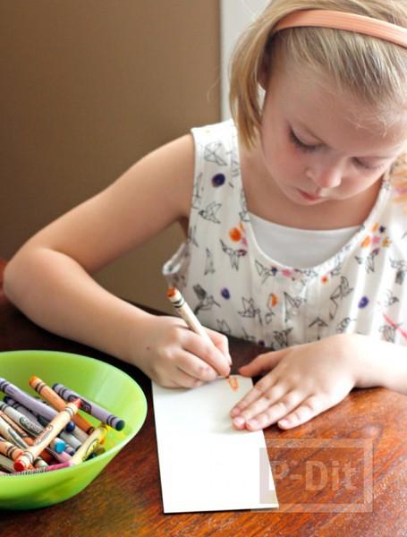 รูป 2 สอนทำที่คั่นหนังสือสวยๆ ระบายสีเทียนและสีน้ำ