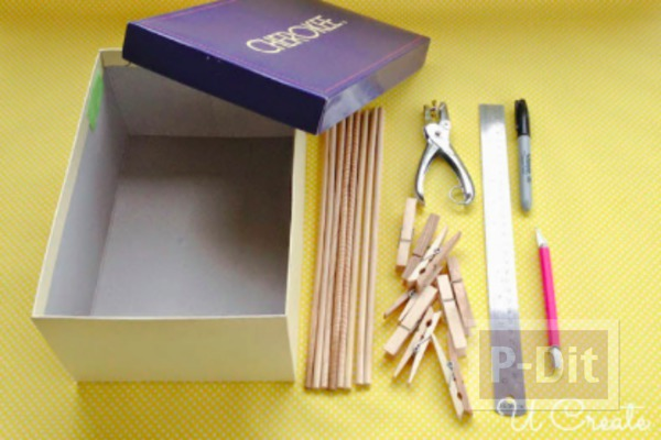 รูป 2 ทำของเล่นจากกล่องรองเท้า และไม้หนีบผ้า