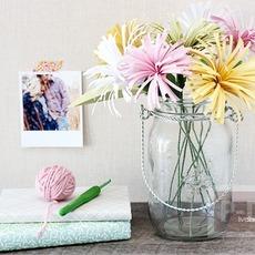ดอกไม้กระดาษสวยๆ ตัดกระดาษเป็นเส้นๆ
