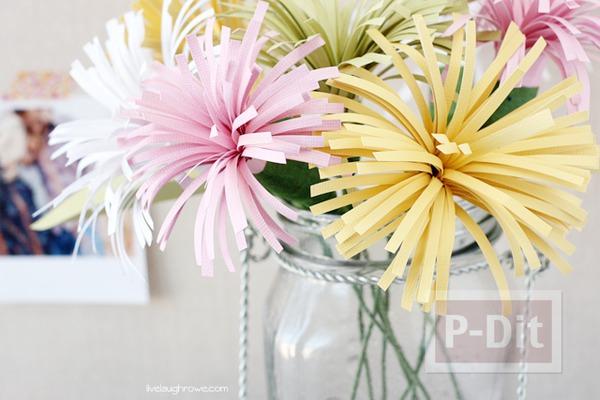 รูป 3 ดอกไม้กระดาษสวยๆ ตัดกระดาษเป็นเส้นๆ