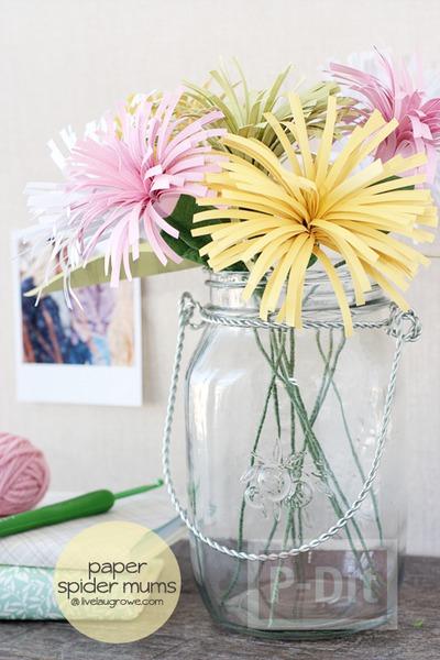 รูป 4 ดอกไม้กระดาษสวยๆ ตัดกระดาษเป็นเส้นๆ