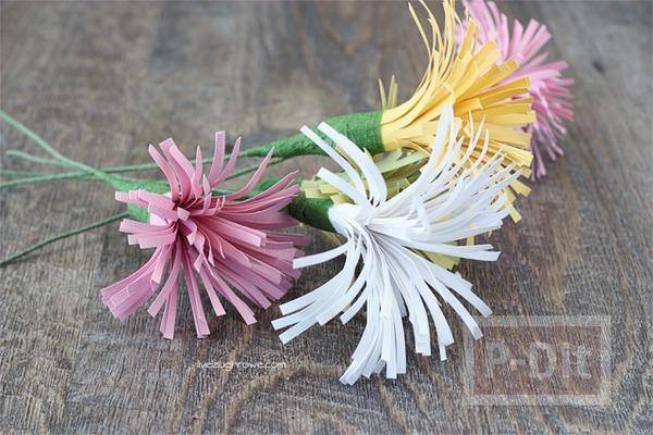 รูป 5 ดอกไม้กระดาษสวยๆ ตัดกระดาษเป็นเส้นๆ