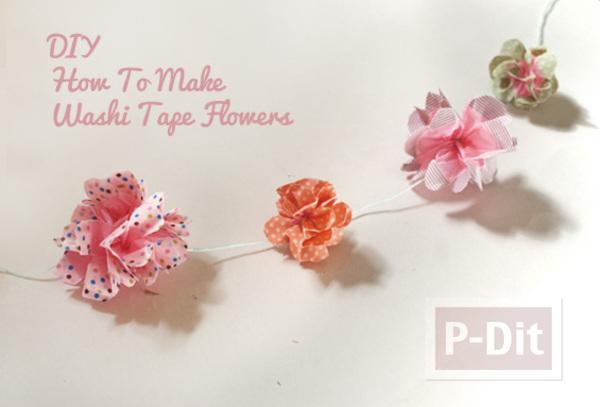 โมบายดอกไม้ประดับ ทำจากถุงพลาสติก ตกแต่งสก็อตเทป
