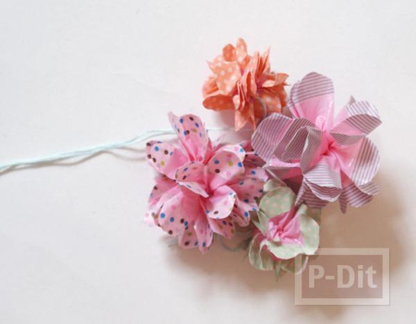 รูป 3 โมบายดอกไม้ประดับ ทำจากถุงพลาสติก ตกแต่งสก็อตเทป