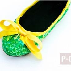 รองเท้าแฟนซี ตกแต่งด้วยสก็อตเทปลายสวย