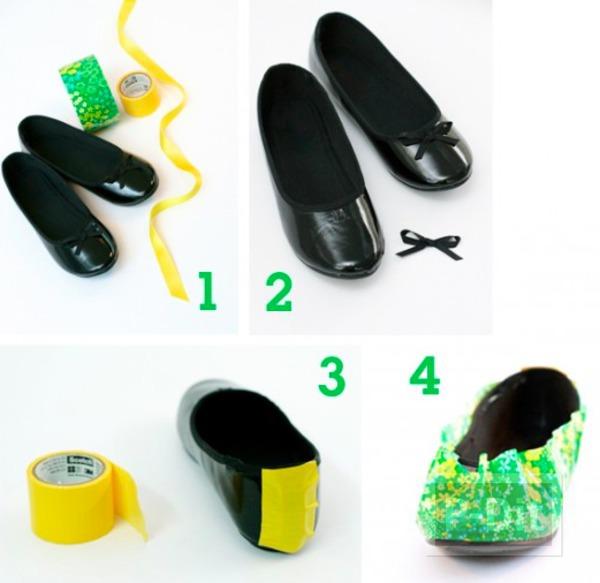 รูป 3 รองเท้าแฟนซี ตกแต่งด้วยสก็อตเทปลายสวย