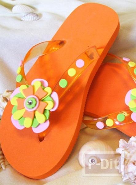 รูป 3 รองเท้าแตะ ตกแต่งลายดอกไม้