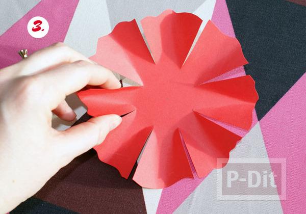 รูป 5 ดอกไม้กระดาษสีแดง ทำเอง หลายกลีบ