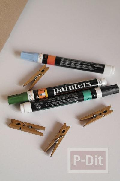 รูป 2 ไม้หนีบผ้าแบบไม้ นำมาวาดรูป ทาสีสวย