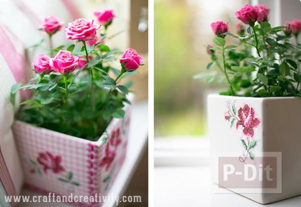 รูป 1 แจกันดอกไม้ ตกแต่งลายสวย จากผ้าลายดอก