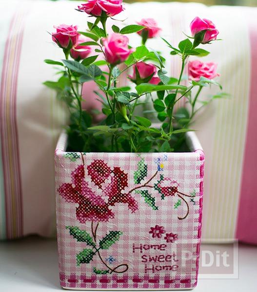 รูป 3 แจกันดอกไม้ ตกแต่งลายสวย จากผ้าลายดอก