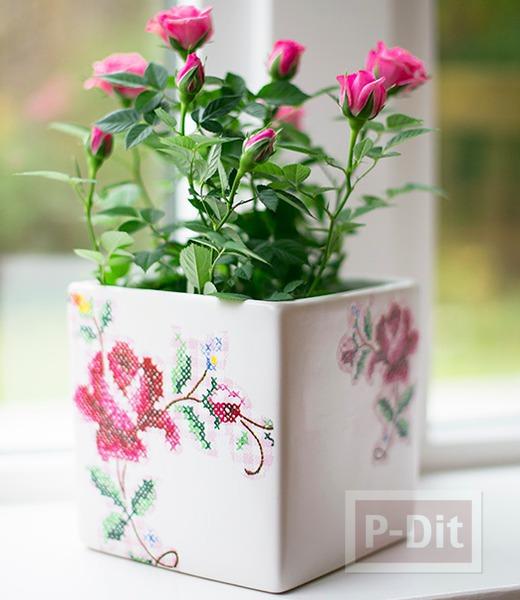 รูป 5 แจกันดอกไม้ ตกแต่งลายสวย จากผ้าลายดอก