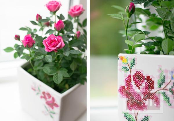 รูป 6 แจกันดอกไม้ ตกแต่งลายสวย จากผ้าลายดอก