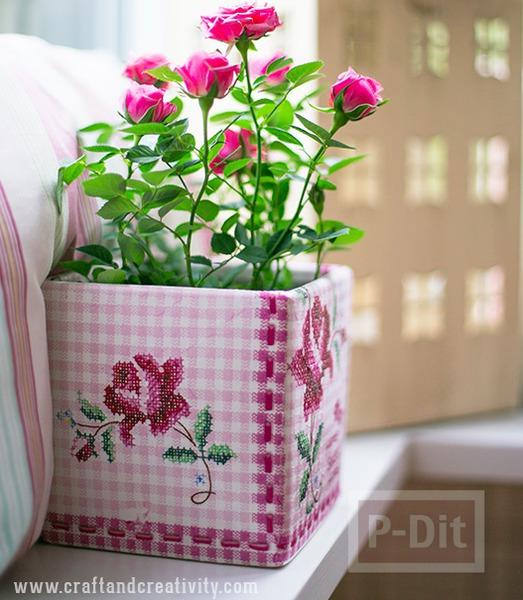 รูป 7 แจกันดอกไม้ ตกแต่งลายสวย จากผ้าลายดอก