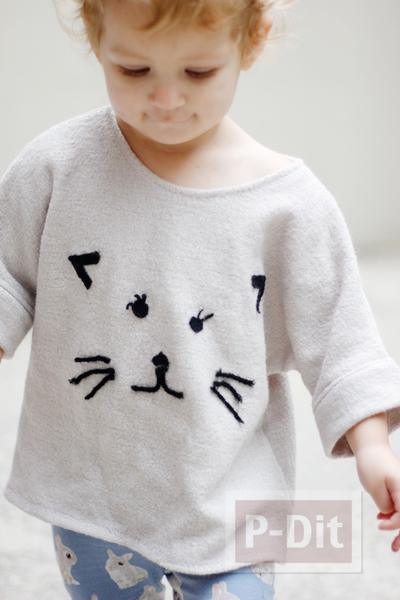 รูป 2 ไอเดียตกแต่งเสื้อยืด ลายแมวเหมียว