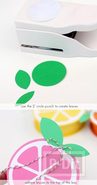 รูป 6 ทำที่ใส่ของขวัญ สวยๆ ลายกลีบส้มสีสด