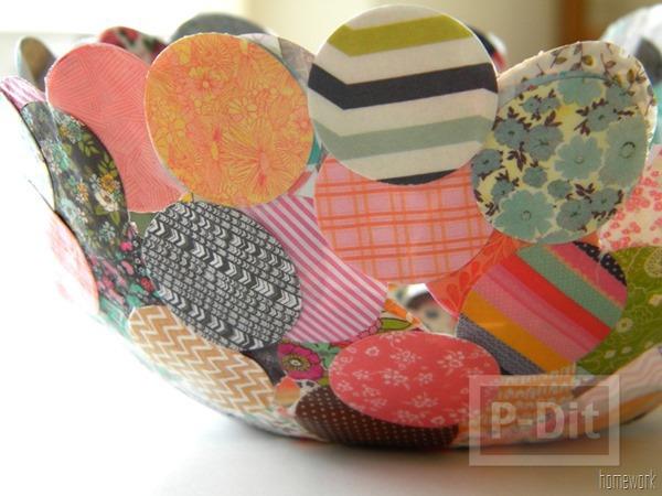 รูป 2 ชามสวยๆ ทำจากผ้า วงกลมต่อๆกัน