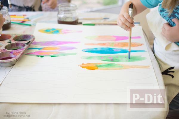 รูป 4 ใบไม้กระดาษ ระบายสีสวย