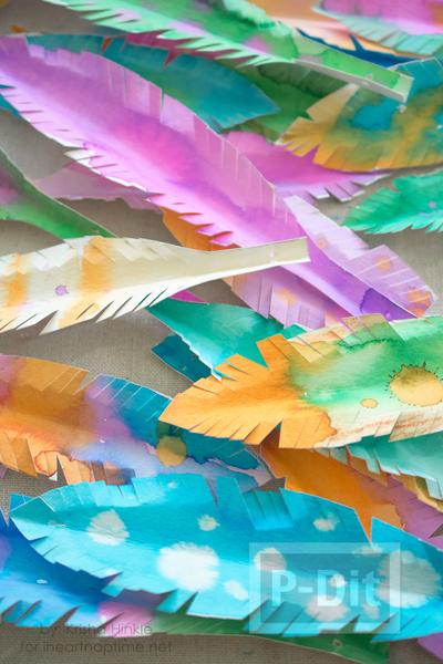 รูป 6 ใบไม้กระดาษ ระบายสีสวย