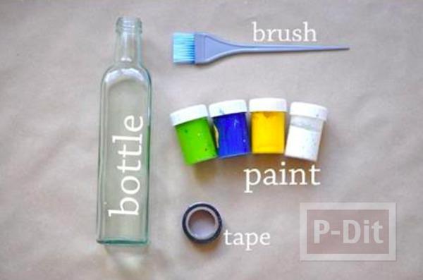 รูป 3 แจกันดอกไม้ ทำจากขวดแก้วทาสี