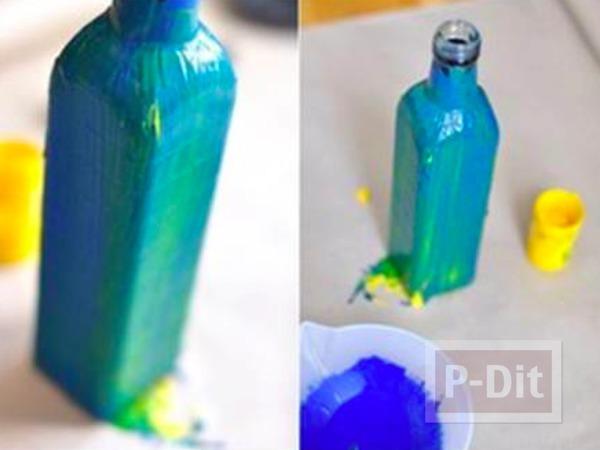 รูป 5 แจกันดอกไม้ ทำจากขวดแก้วทาสี