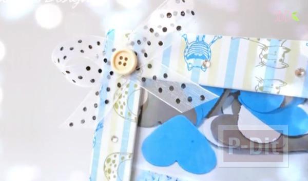 รูป 2 กรอบรูป ตกแต่งสีฟ้า เด็กน้อยน่ารัก